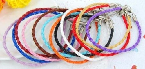Colourful Friendship Braided PU Leather Charm Bracelet Steel Clasp & Chain